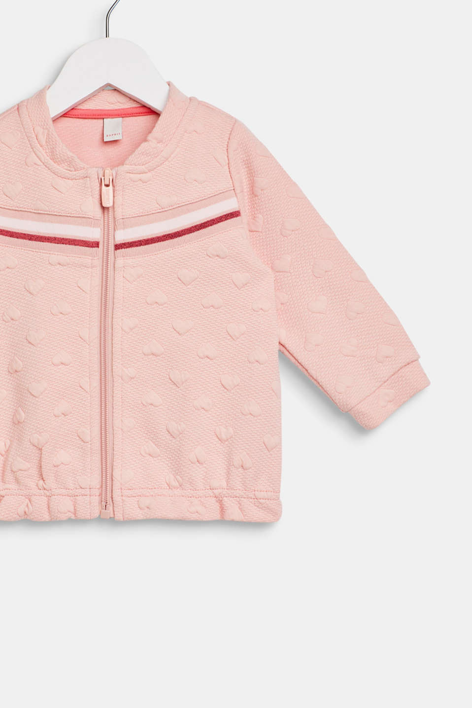 Sweatshirt fabric cardigan with a heart-shaped texture, LCLIGHT BLUSH, detail image number 2