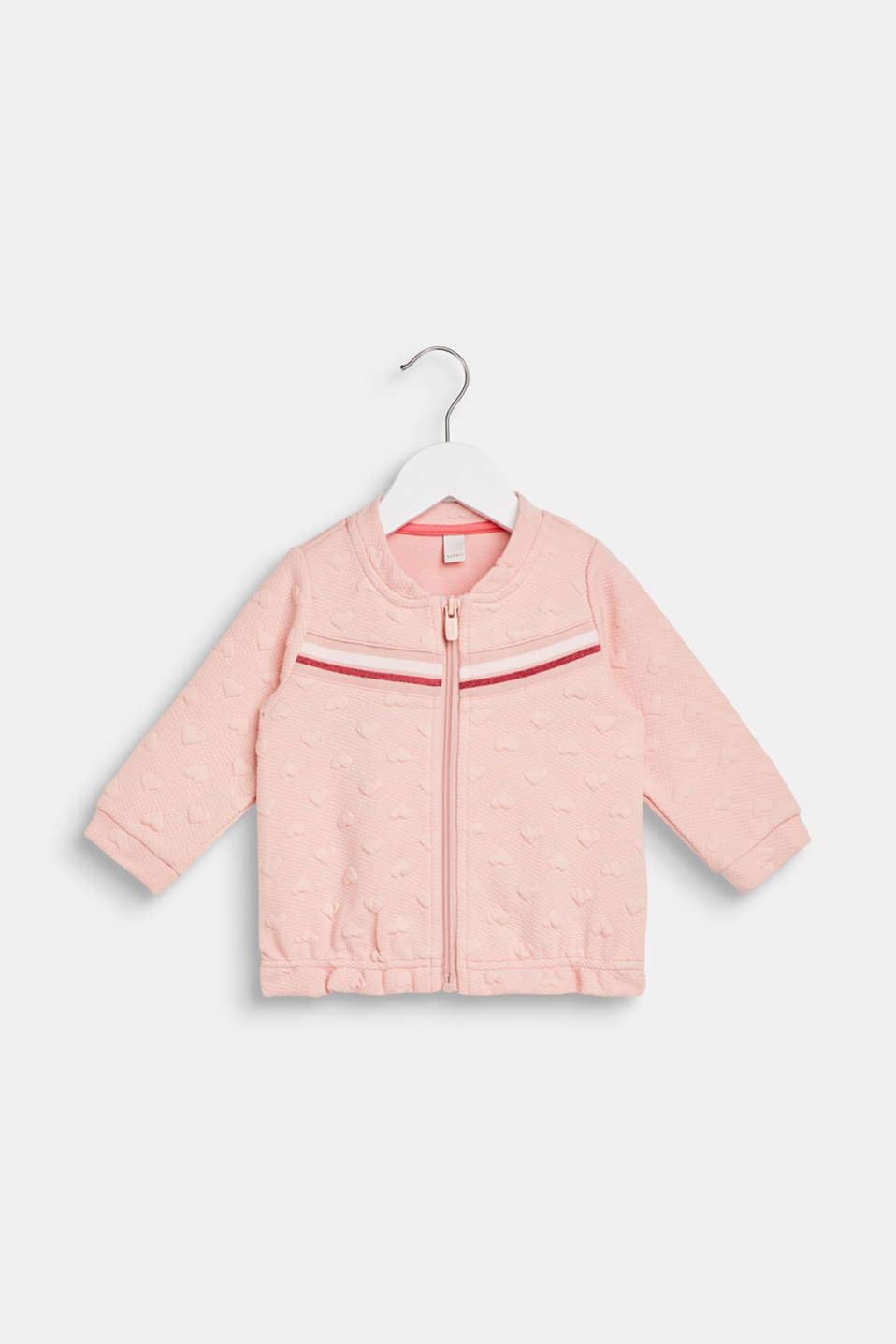Sweatshirt fabric cardigan with a heart-shaped texture, LCLIGHT BLUSH, detail image number 0