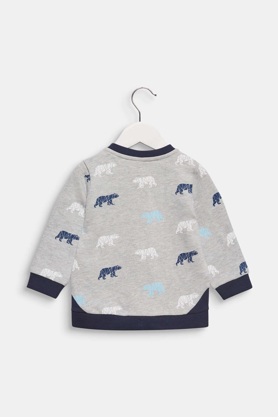 Sweatshirt cardigan with a bear print, LCHEATHER SILVER, detail image number 1