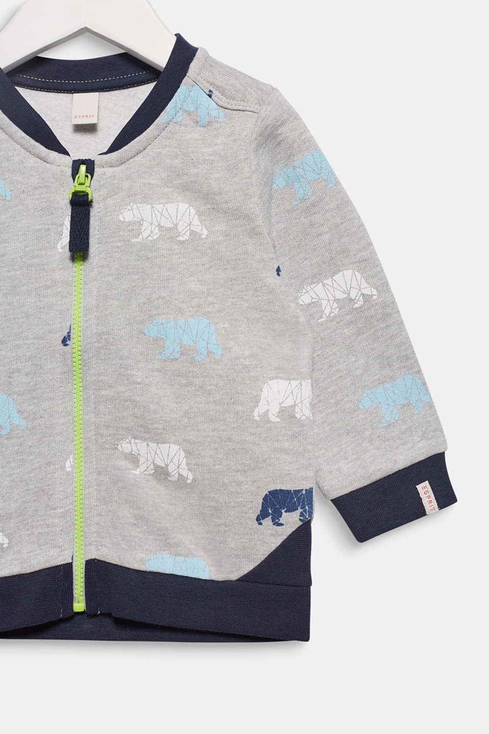 Sweatshirt cardigan with a bear print, LCHEATHER SILVER, detail image number 2