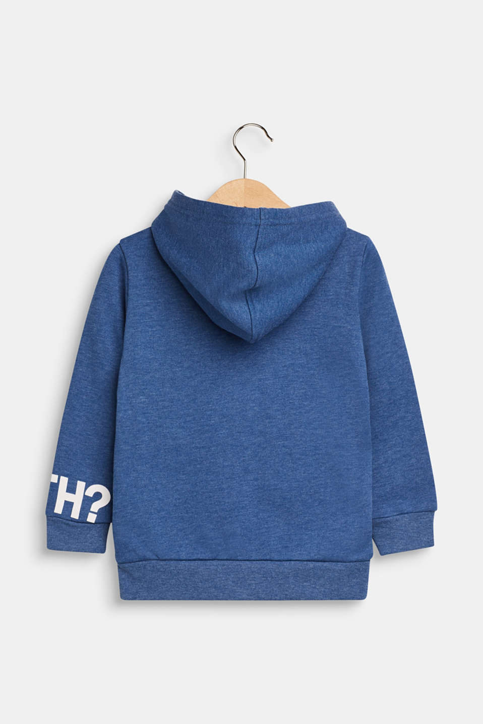 Sweatshirt cardigan with a print and a hood, indigo, detail image number 1
