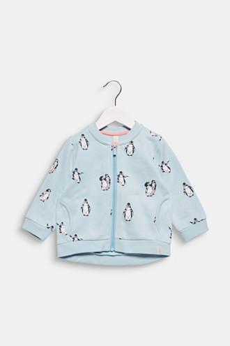 Sweatshirt cardigan with a penguin print, 100% cotton
