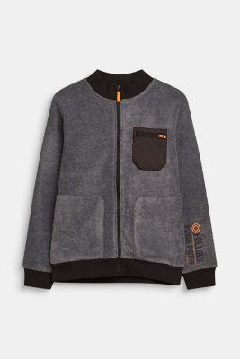 Fleece bomber jacket, LCGREY, detail