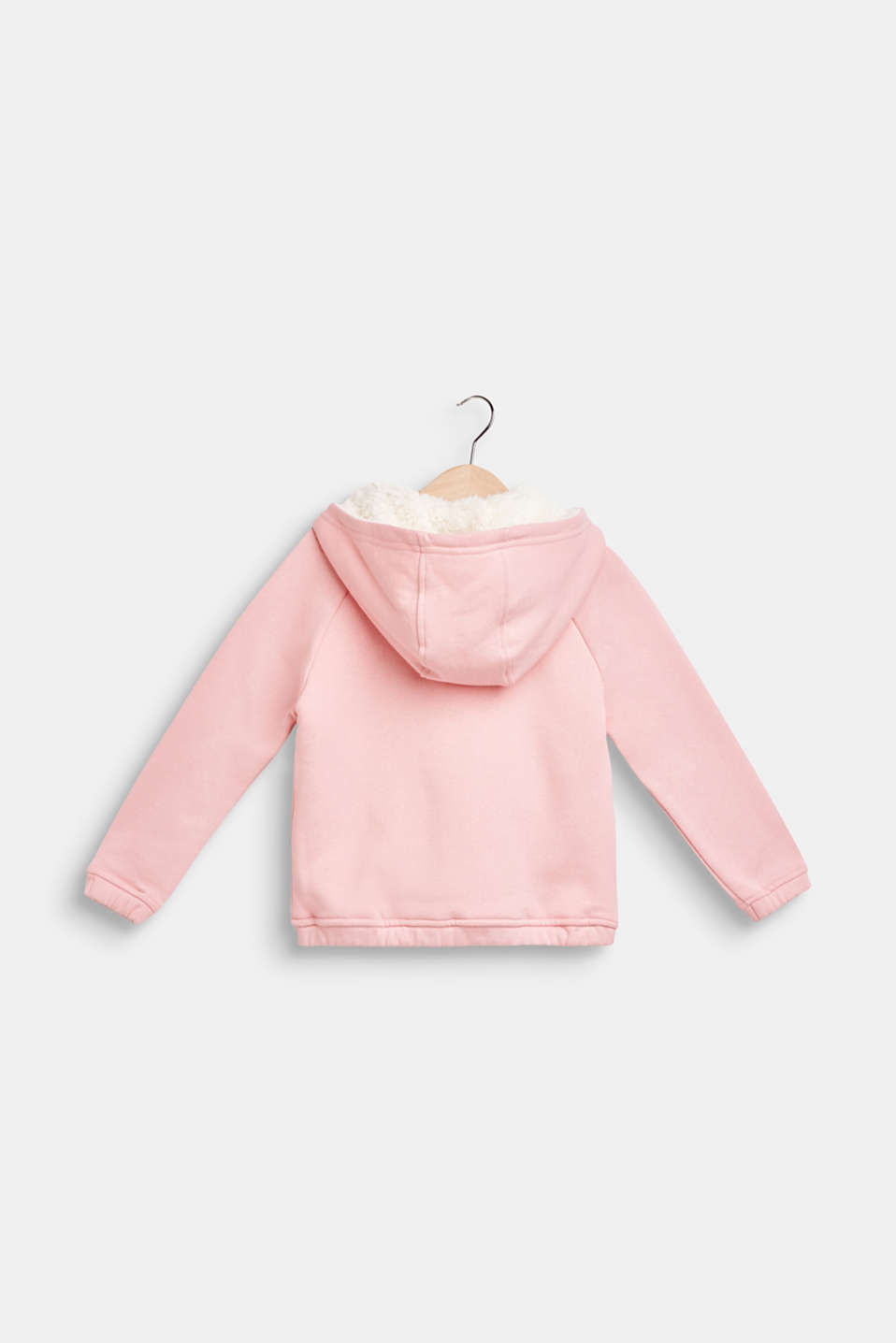 Sweatshirt fabric cardigan with faux fur lining, LIGHT PINK, detail image number 1