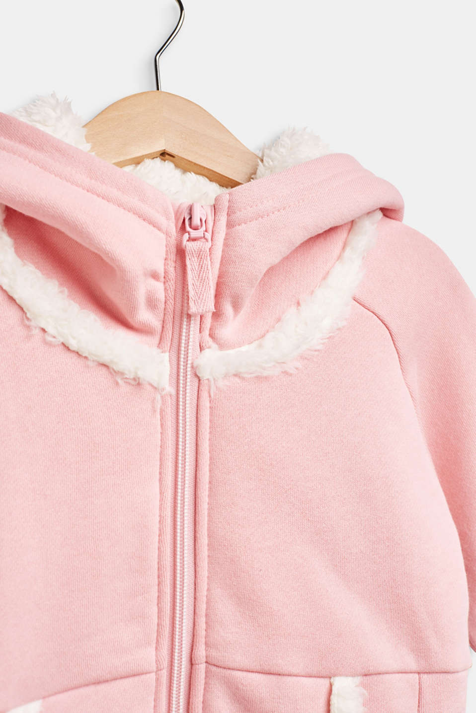 Sweatshirt fabric cardigan with faux fur lining, LIGHT PINK, detail image number 2