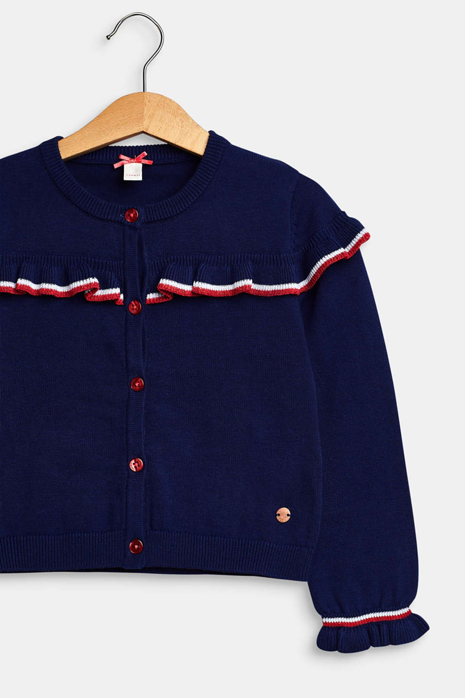 Frilled cardigan, 100% cotton, MARINE BLUE, detail image number 2