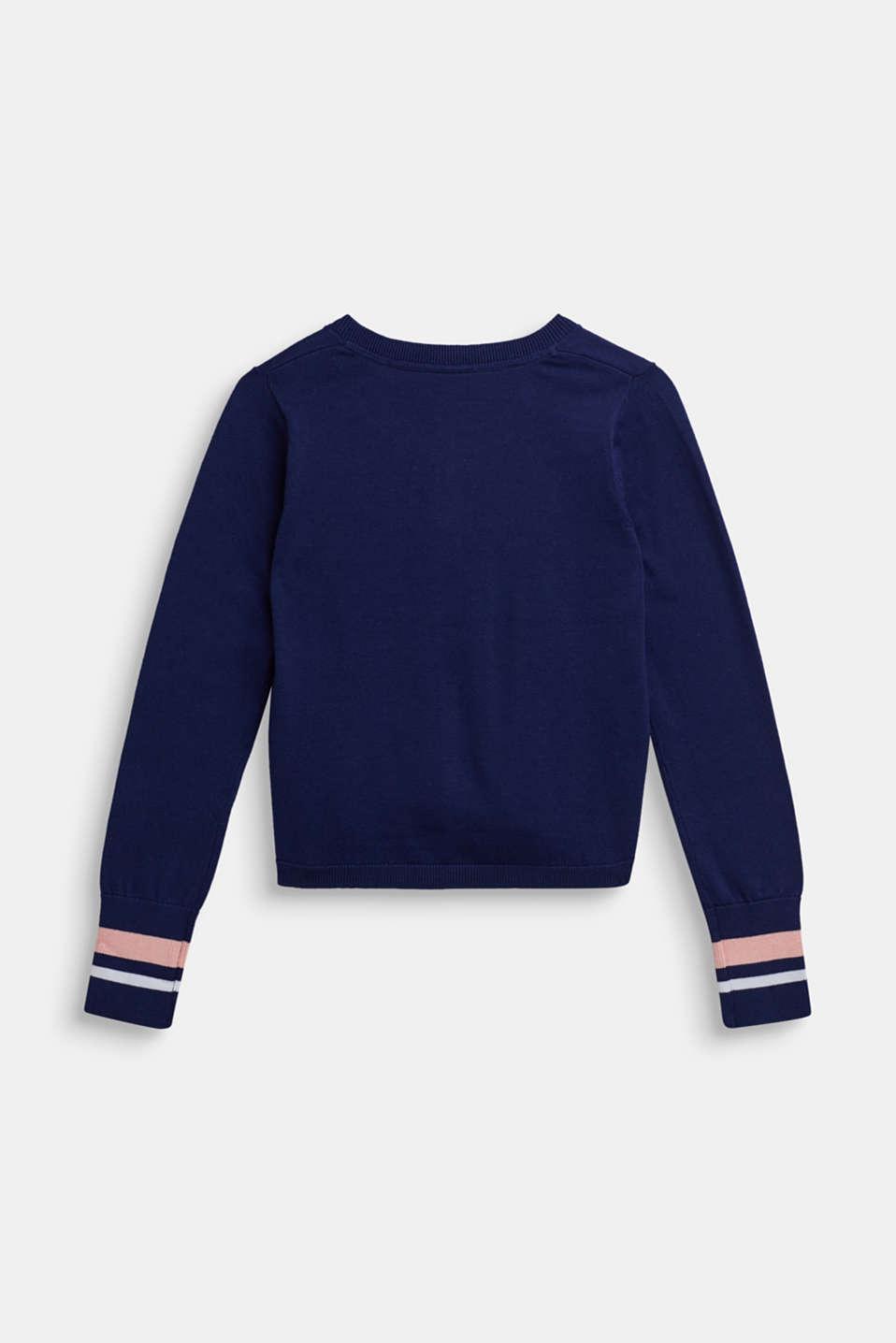 Striped cardigan, 100% cotton, LCMARINE BLUE, detail image number 1