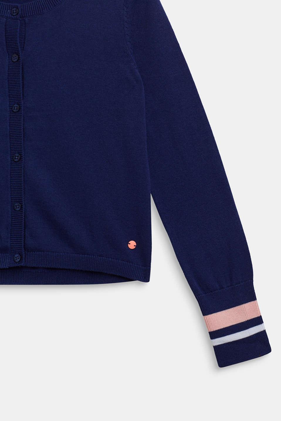 Striped cardigan, 100% cotton, LCMARINE BLUE, detail image number 2
