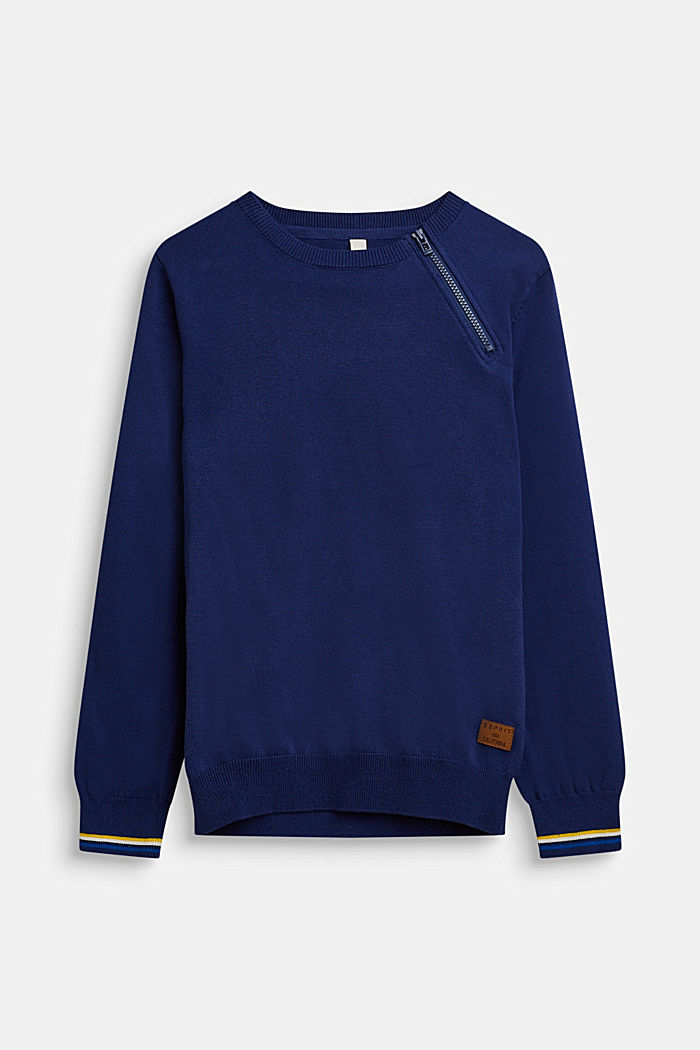 Pull-over 100% coton, LCMARINE BLUE, detail image number 0