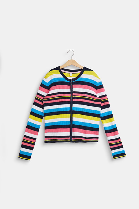 Striped cardigan in ribbed jersey
