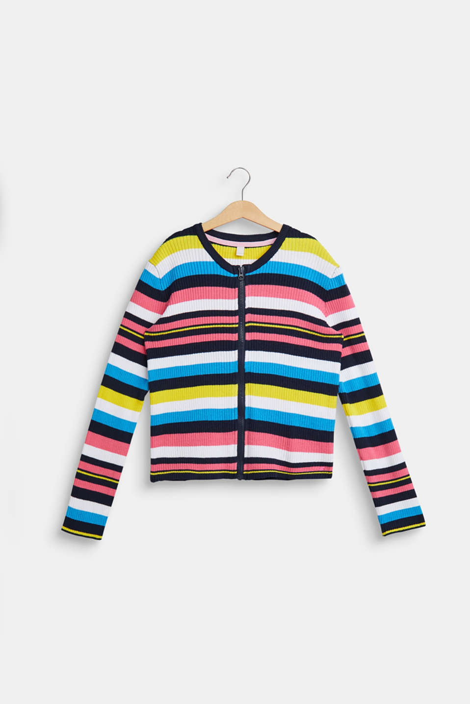 Esprit - Striped cardigan in ribbed jersey