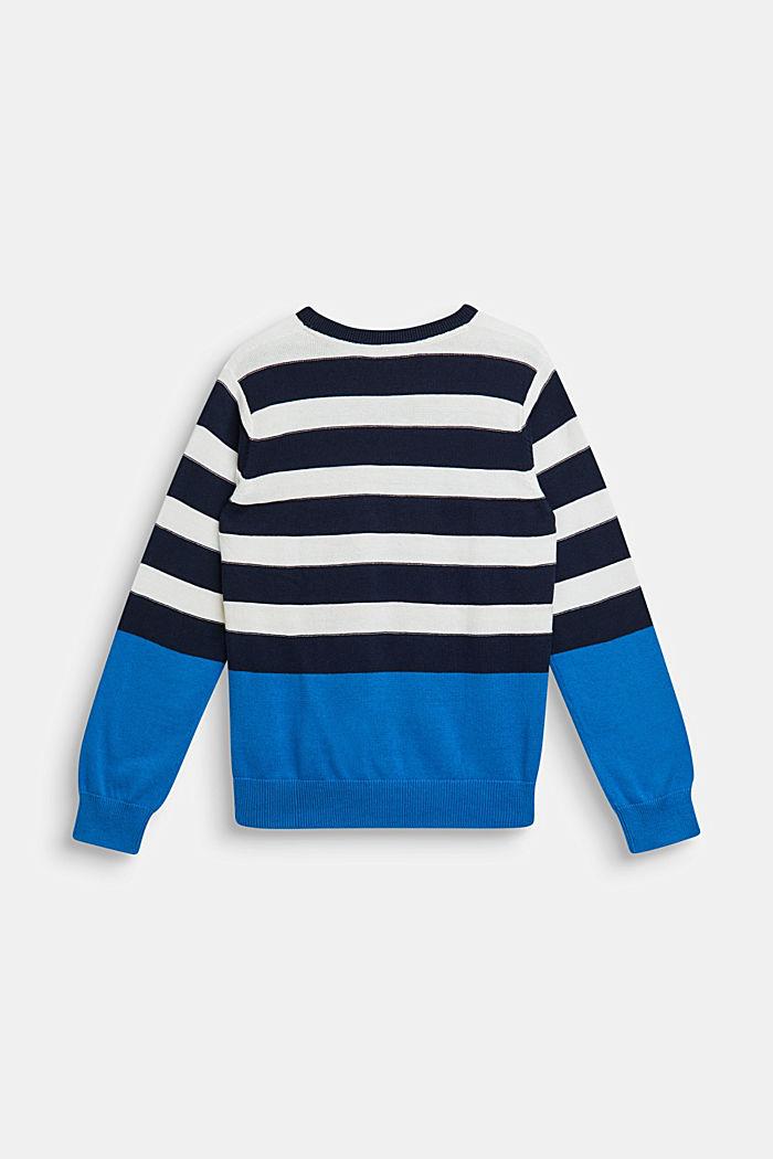 Striped jumper, 100% cotton, NAVY, detail image number 1
