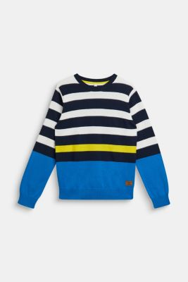 Striped jumper, 100% cotton, LCNAVY, detail