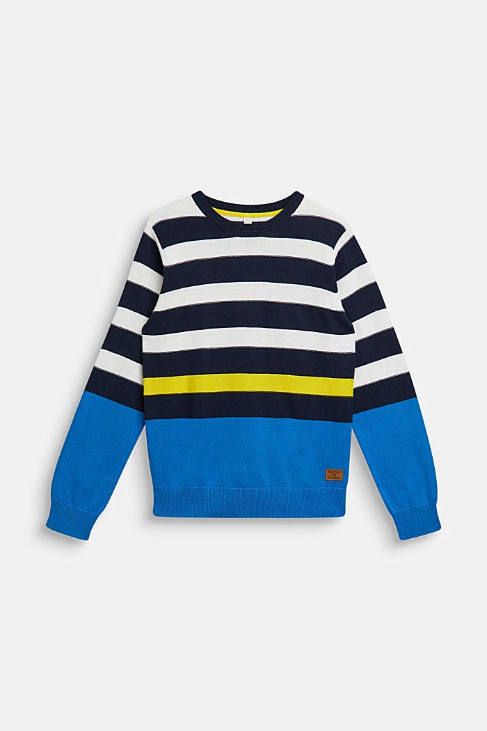 Striped jumper, 100% cotton, NAVY, detail image number 0