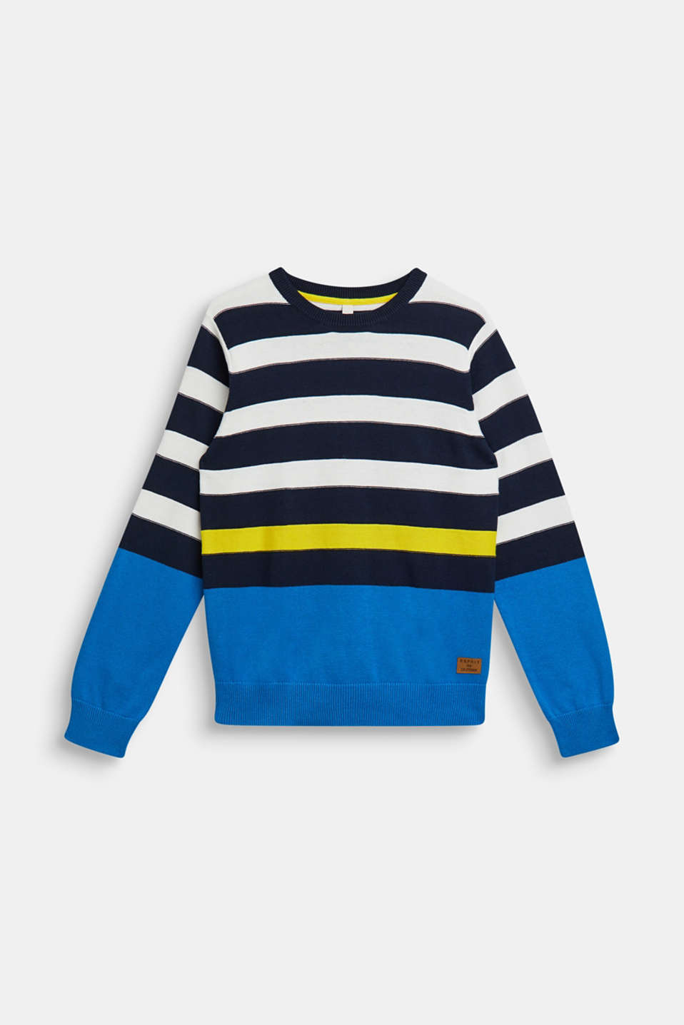 Striped jumper, 100% cotton, LCNAVY, detail image number 0