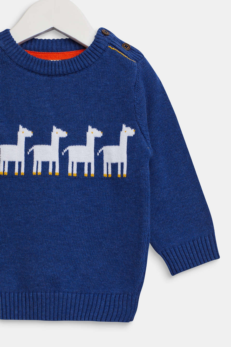 Jumper with llama intarsia, 100% cotton, LCINDIGO, detail image number 2