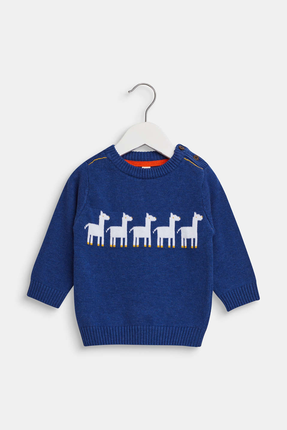 Jumper with llama intarsia, 100% cotton, LCINDIGO, detail image number 0