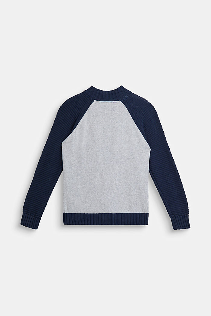 Color Block-Cardigan, 100% Baumwolle, LCHEATHER SILVER, detail image number 1