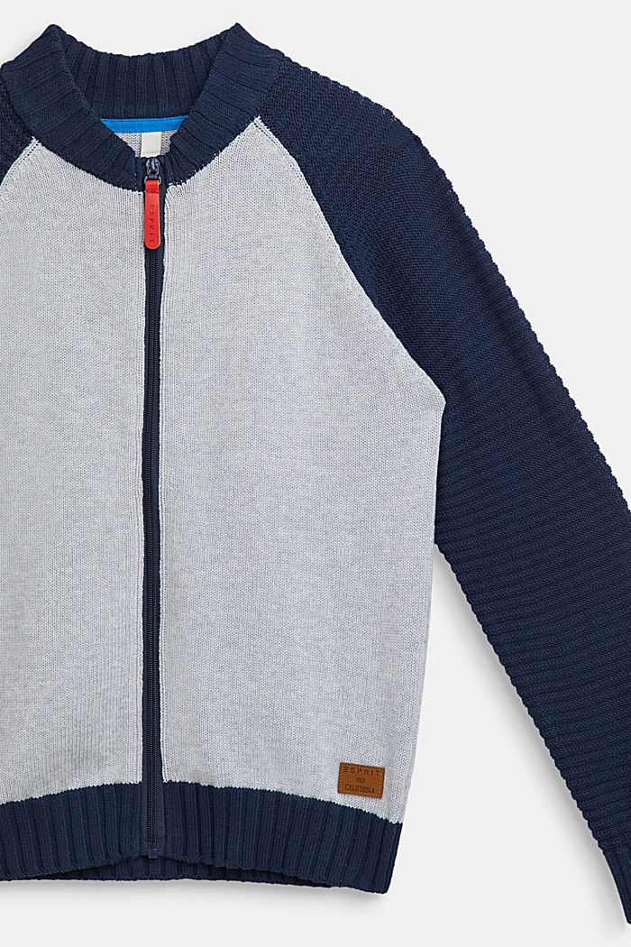 Color Block-Cardigan, 100% Baumwolle, LCHEATHER SILVER, detail image number 2