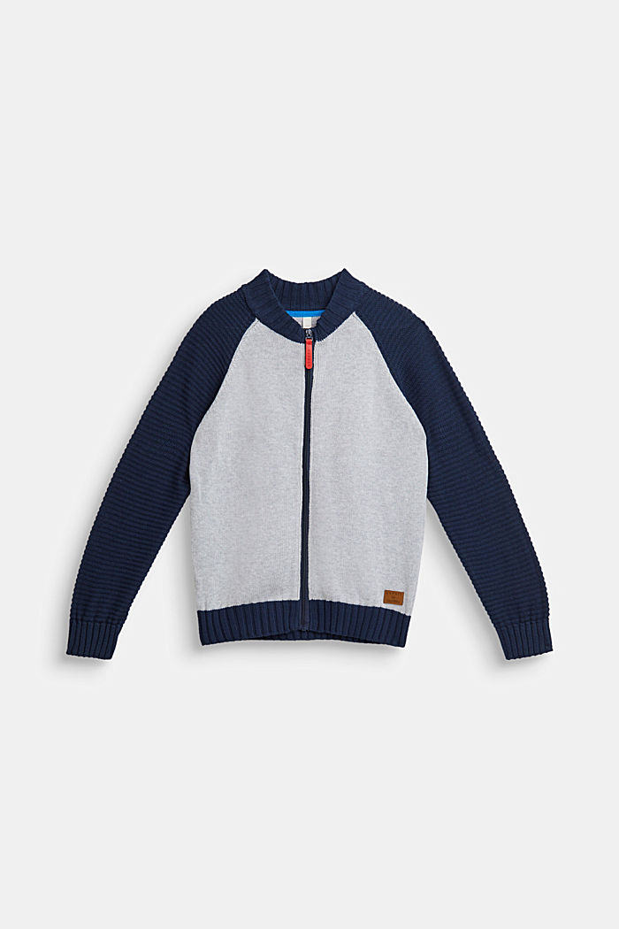 Color Block-Cardigan, 100% Baumwolle, LCHEATHER SILVER, detail image number 0