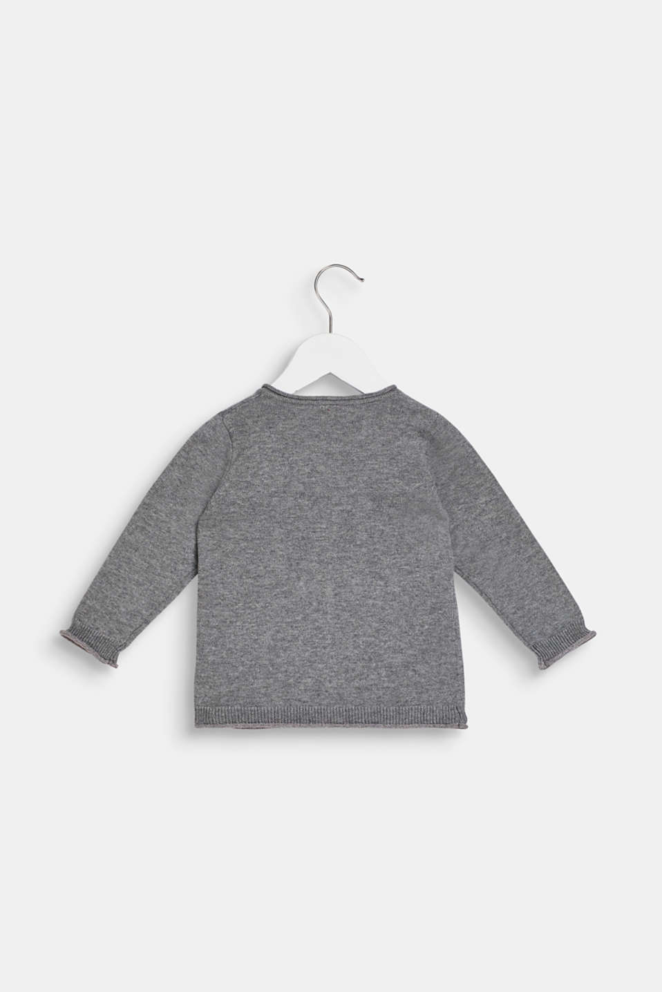 Polka dot-textured cardigan, 100% cotton, LCDARK HEATHER G, detail image number 1