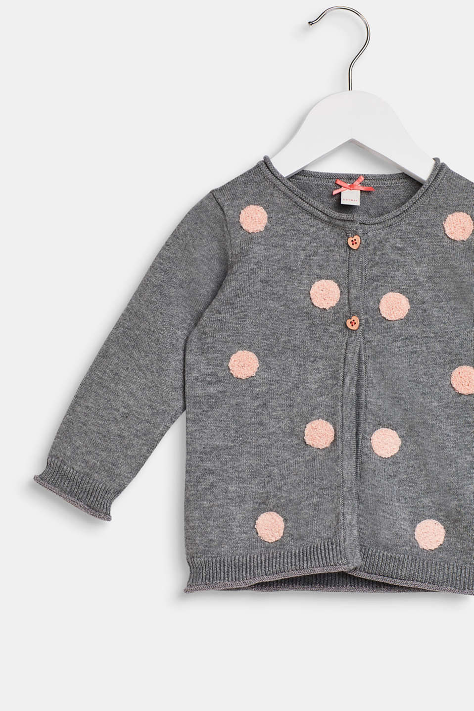 Polka dot-textured cardigan, 100% cotton, LCDARK HEATHER G, detail image number 2