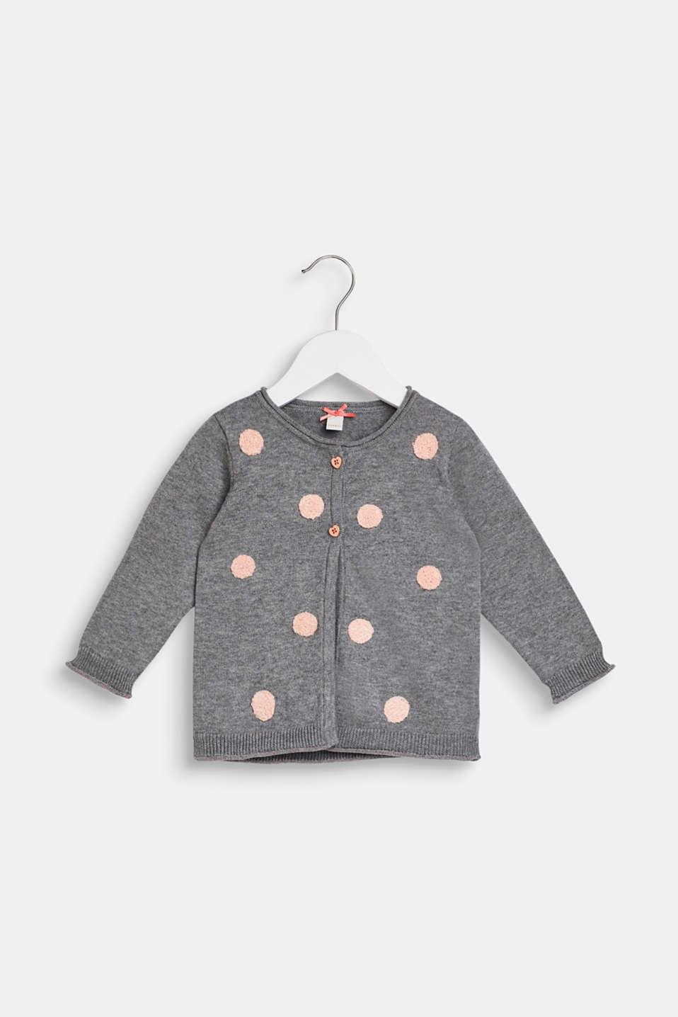 Polka dot-textured cardigan, 100% cotton, LCDARK HEATHER G, detail image number 0