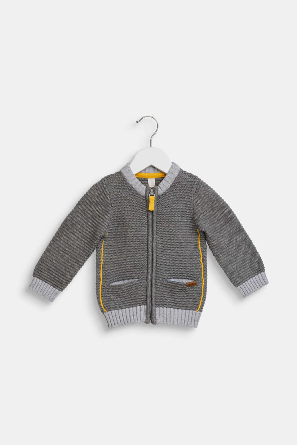 Rib knit cardigan made of 100% cotton, LCDARK HEATHER G, detail image number 0