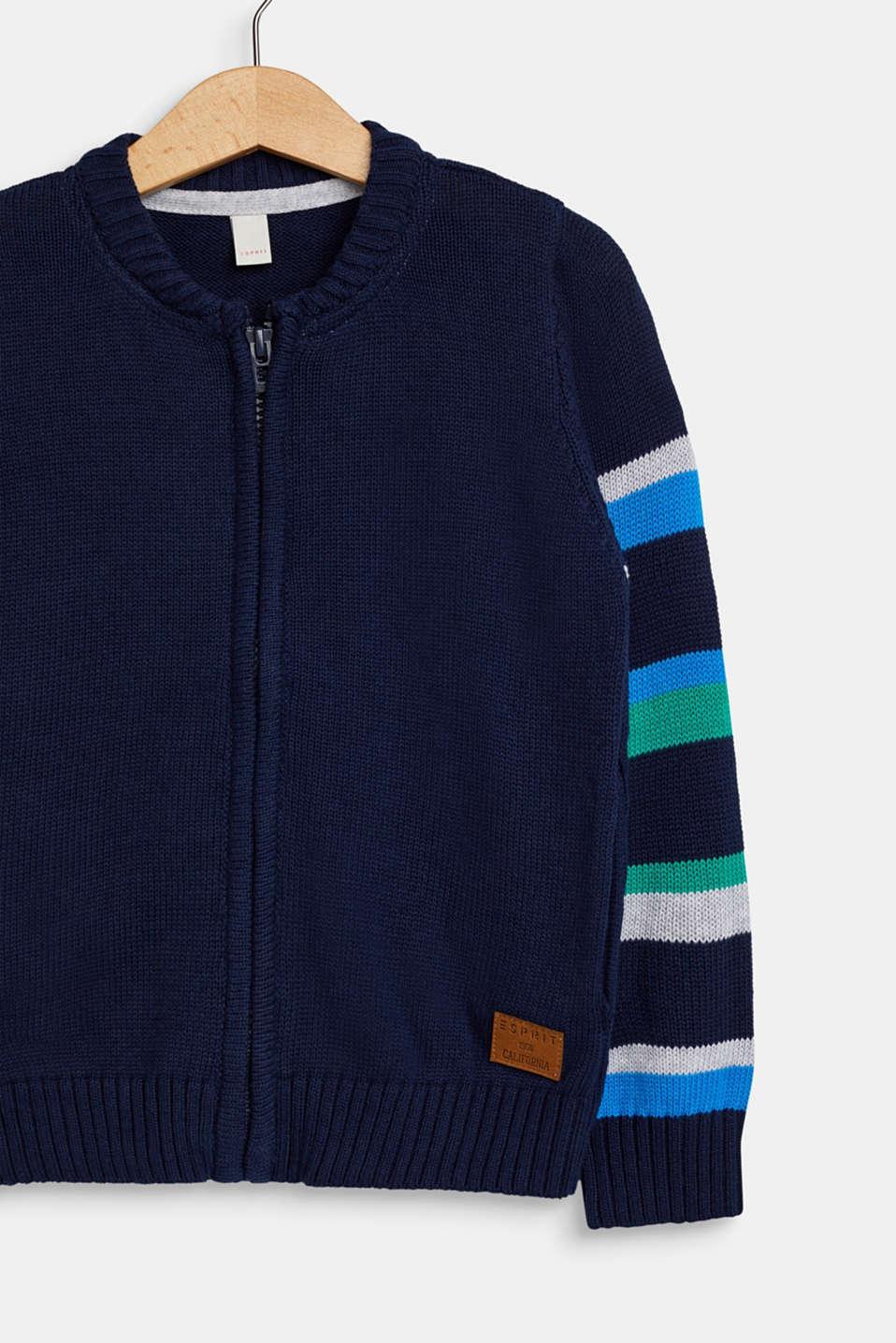 Striped zip cardigan, 100% cotton, NAVY, detail image number 2