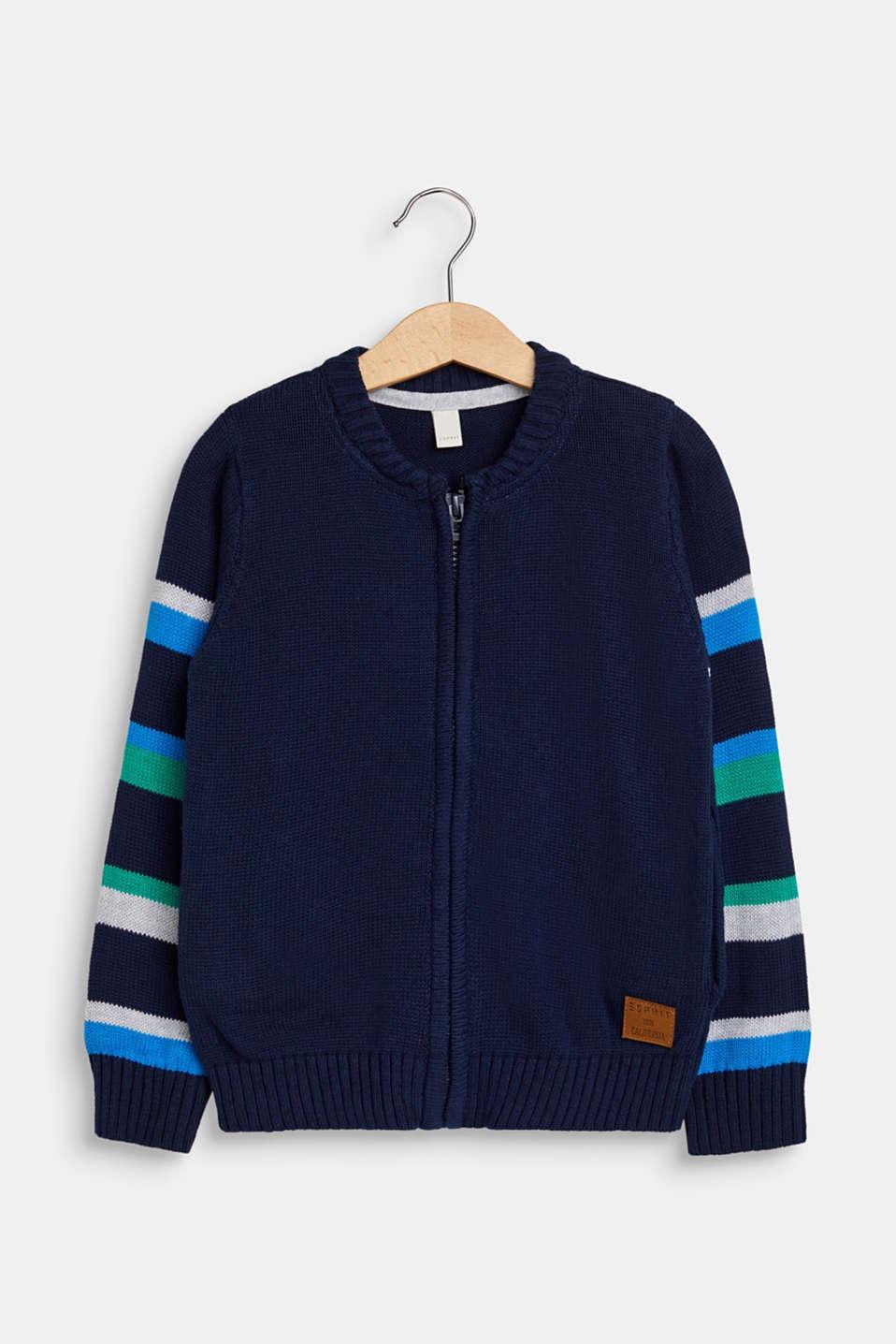 Striped zip cardigan, 100% cotton, NAVY, detail image number 0