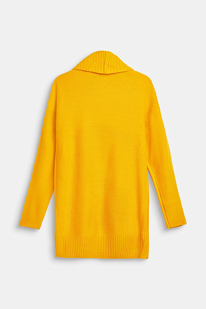 Long cardigan with a shawl collar, LCMUSTARD, detail image number 1
