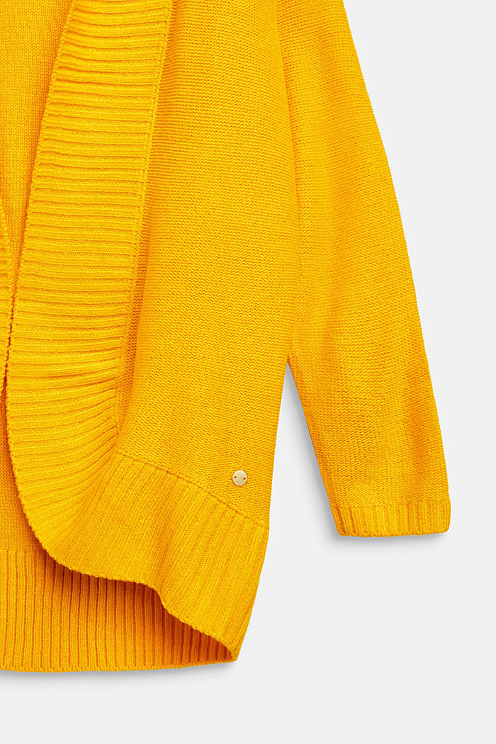 Long cardigan with a shawl collar, LCMUSTARD, detail image number 2