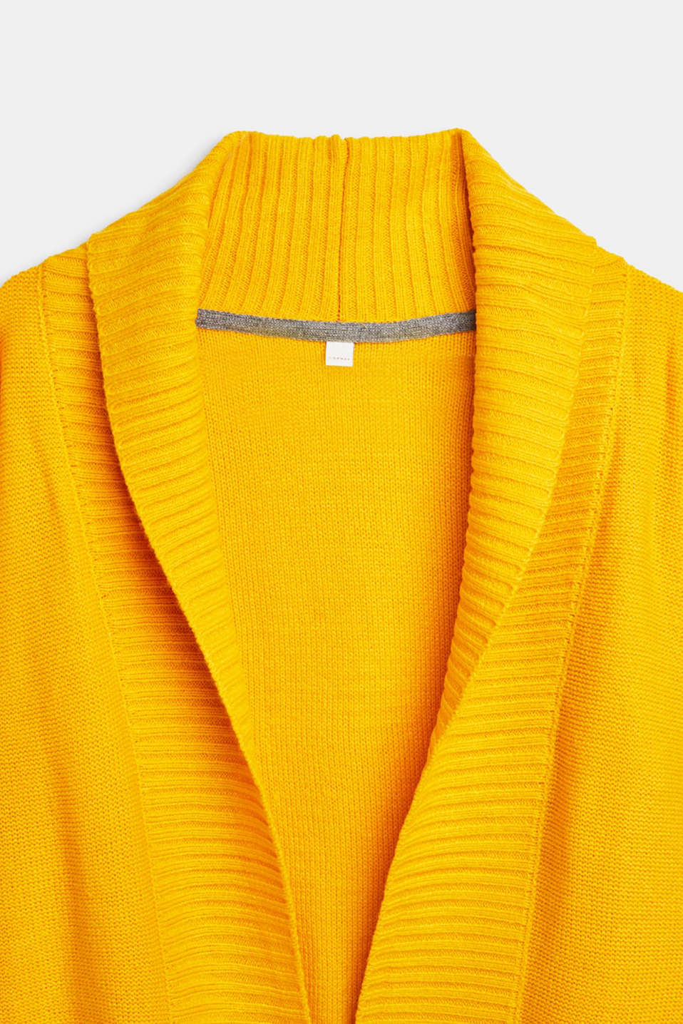 Long cardigan with a shawl collar, LCMUSTARD, detail image number 3