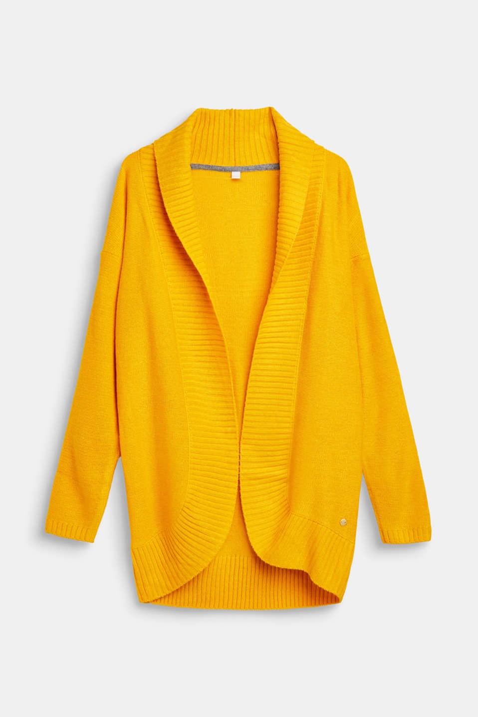 Long cardigan with a shawl collar, LCMUSTARD, detail image number 0