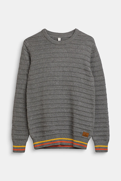 Jumper with ribbed texture, 100% cotton