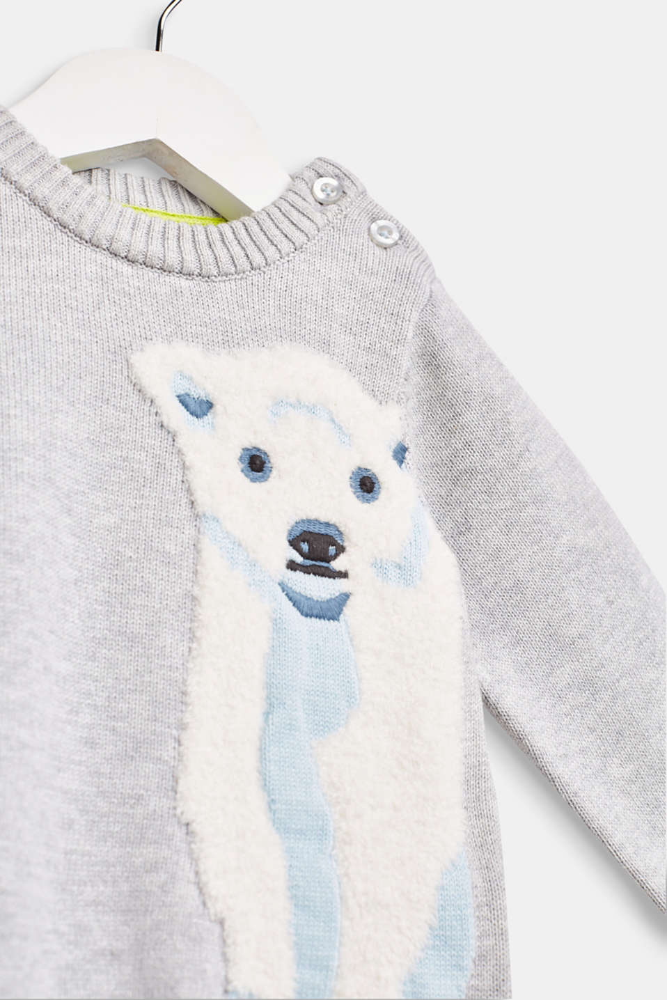 Sweater with a fluffy polar bear motif, LCHEATHER SILVER, detail image number 2