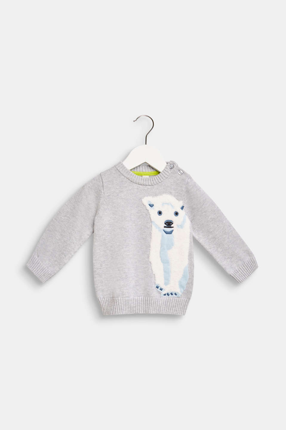 Sweater with a fluffy polar bear motif, LCHEATHER SILVER, detail image number 0