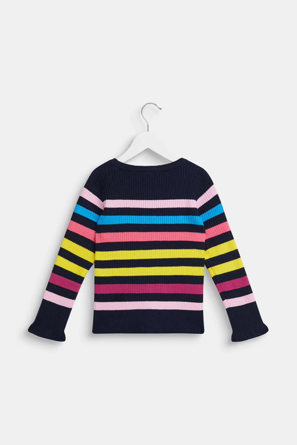 Rib knit jumper with colourful stripes, NAVY, detail image number 1