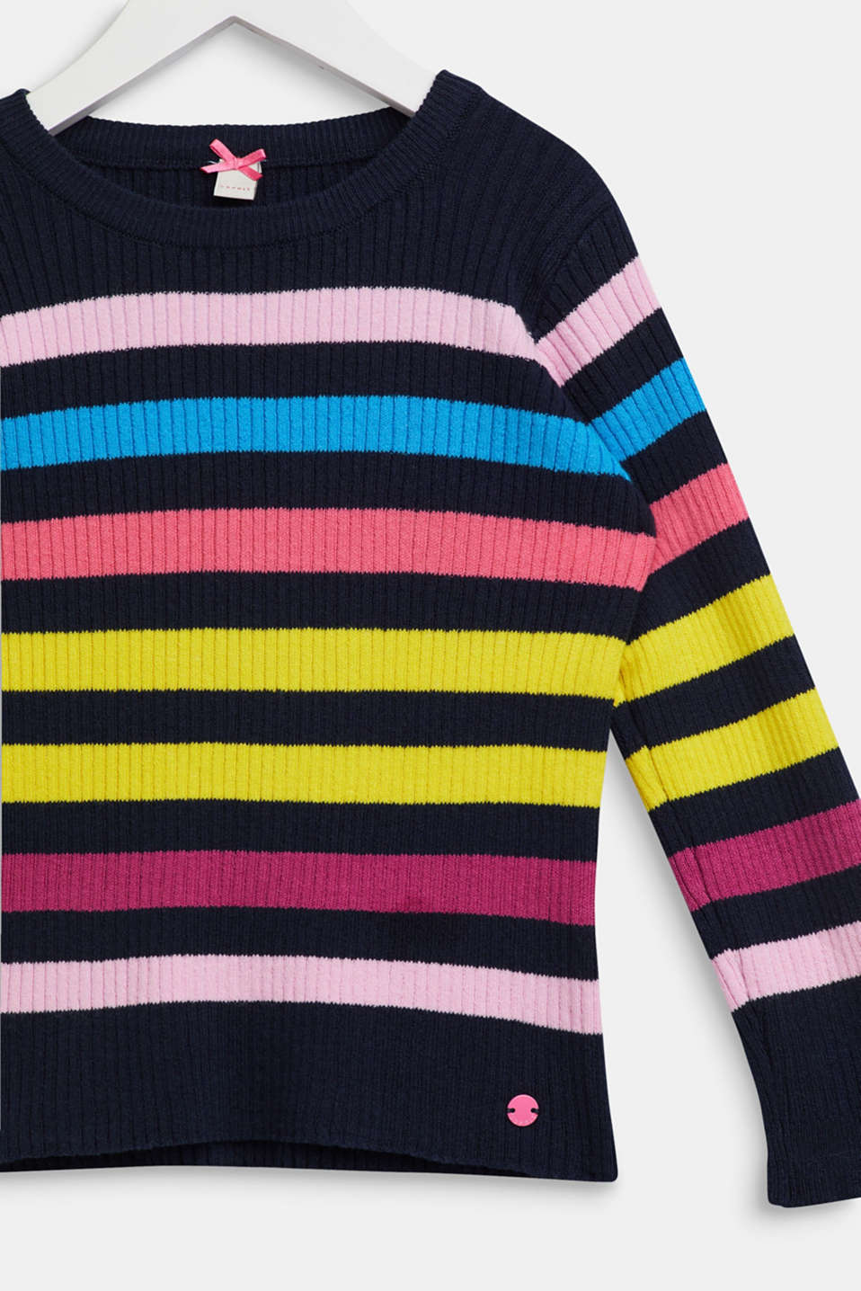 Rib knit jumper with colourful stripes, NAVY, detail image number 2