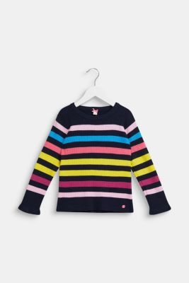 Rib knit jumper with colourful stripes, NAVY, detail