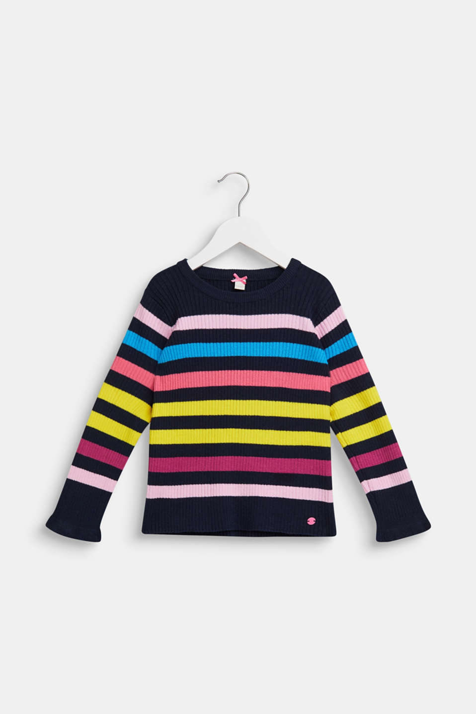 Esprit - Rib knit jumper with colourful stripes