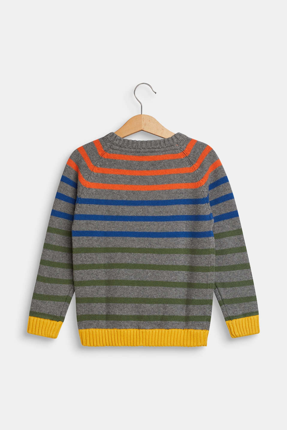 Striped jumper in 100% cotton, DARK HEATHER G, detail image number 1