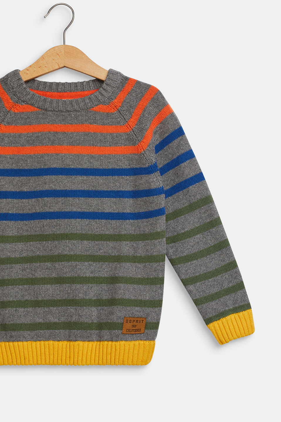 Striped jumper in 100% cotton, DARK HEATHER G, detail image number 2