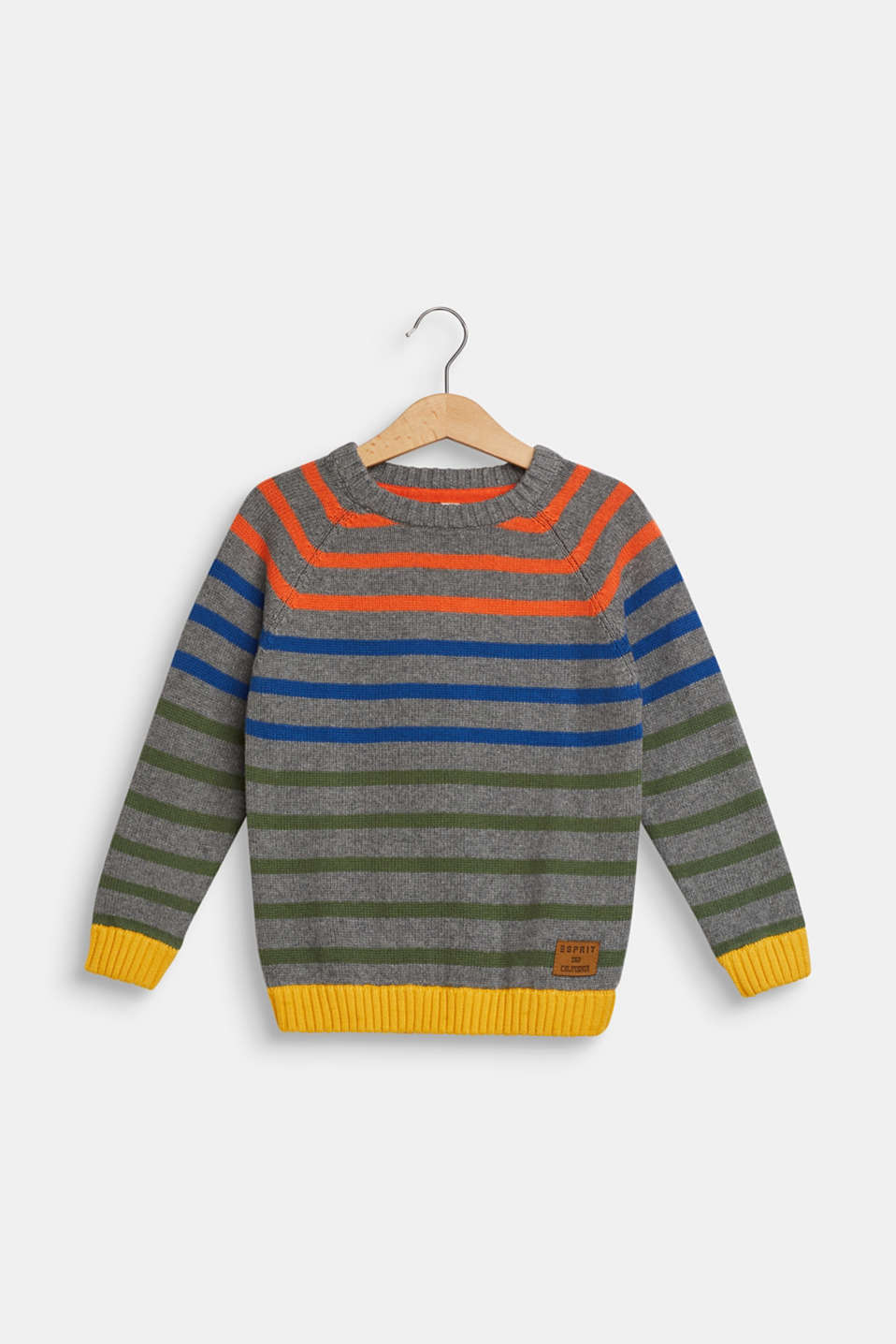 Striped jumper in 100% cotton, DARK HEATHER G, detail image number 0
