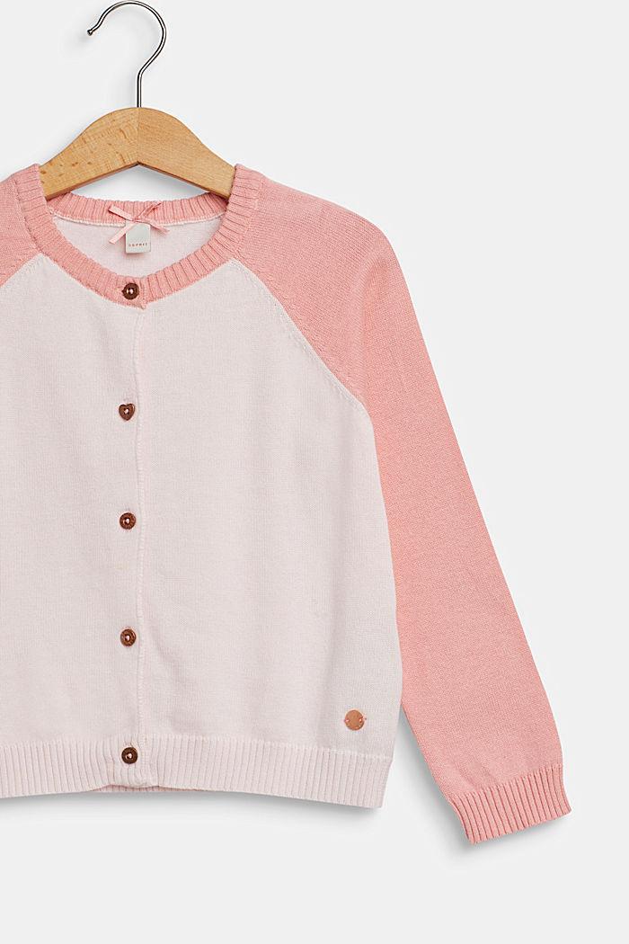 Color Block-Cardigan, 100% Baumwolle, TINTED PEARL, detail image number 2