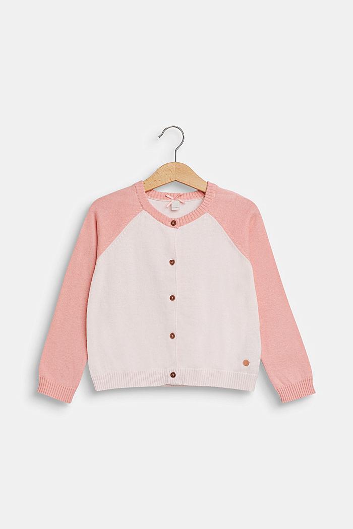 Color Block-Cardigan, 100% Baumwolle, TINTED PEARL, detail image number 0