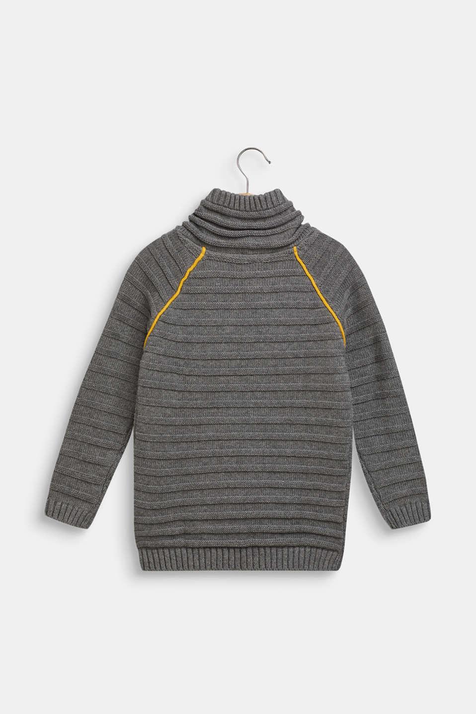 Ribbed shawl collar jumper, 100% cotton, DARK HEATHER G, detail image number 1