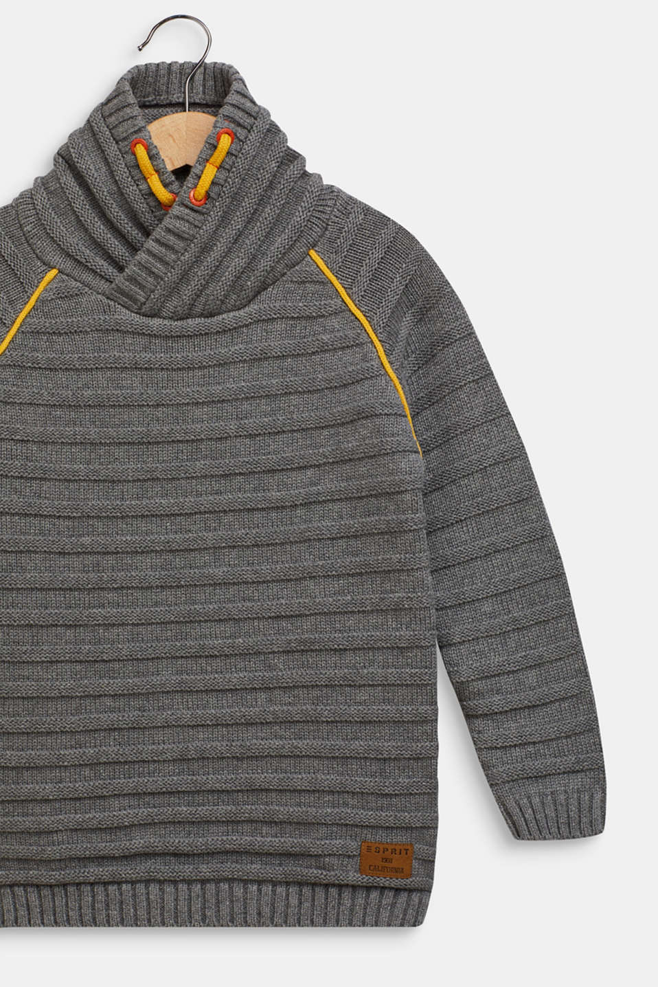 Ribbed shawl collar jumper, 100% cotton, DARK HEATHER G, detail image number 2