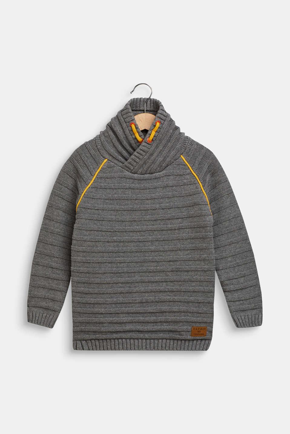Ribbed shawl collar jumper, 100% cotton, DARK HEATHER G, detail image number 0