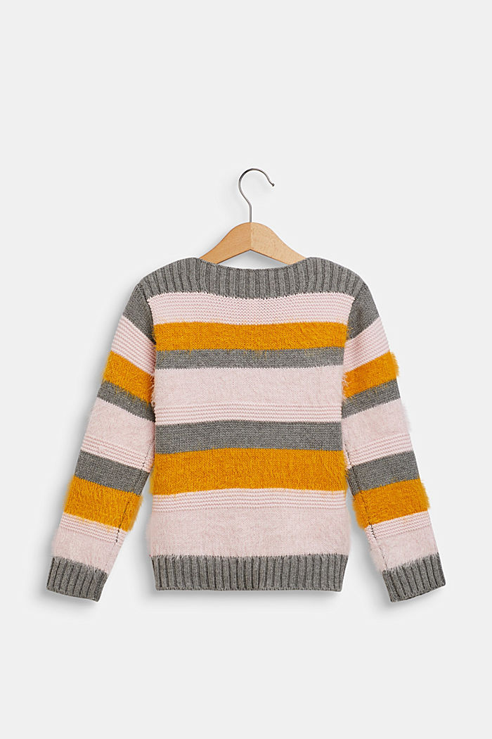 Jumper with fluffy stripes, DARK HEATHER GREY, detail image number 1